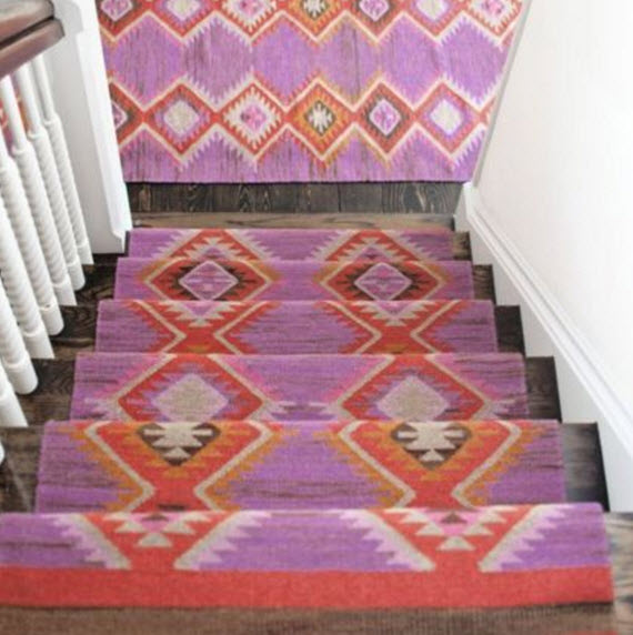 TRIBAL RUG ON STAIRS