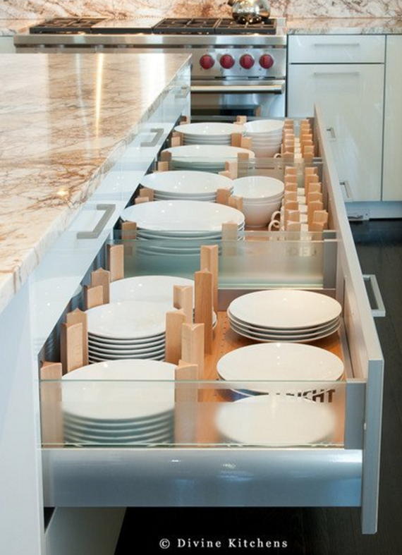 kitchen drawers for plates + cups