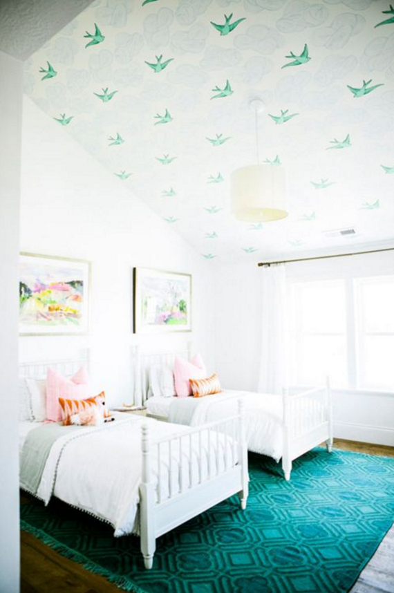 wallpaper the ceiling // girls bedroom