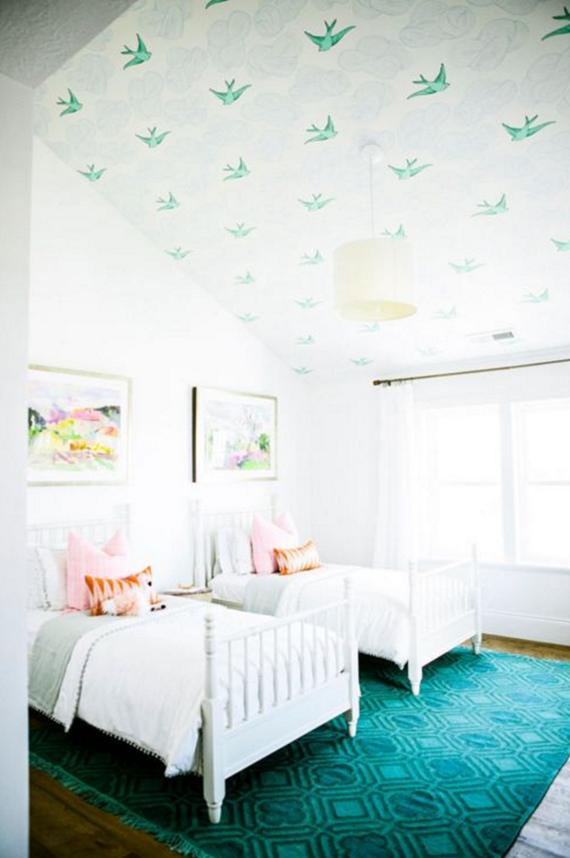 wallpaper the ceiling // girls bedroom