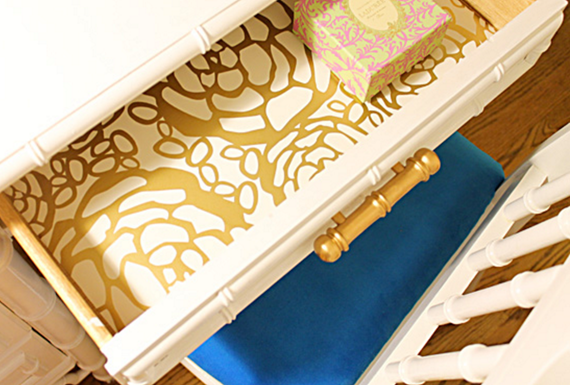 wallpapered desk drawer #wallpaper