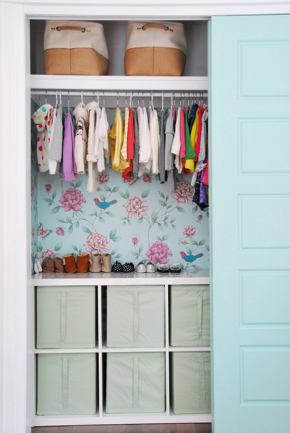 wallpapered kids closet