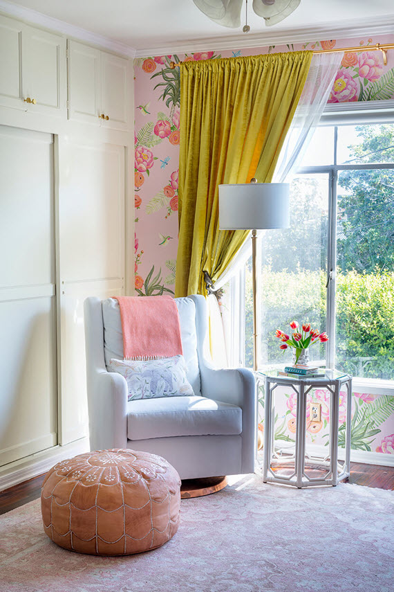 pink floral nursery // emily henderson #nursery