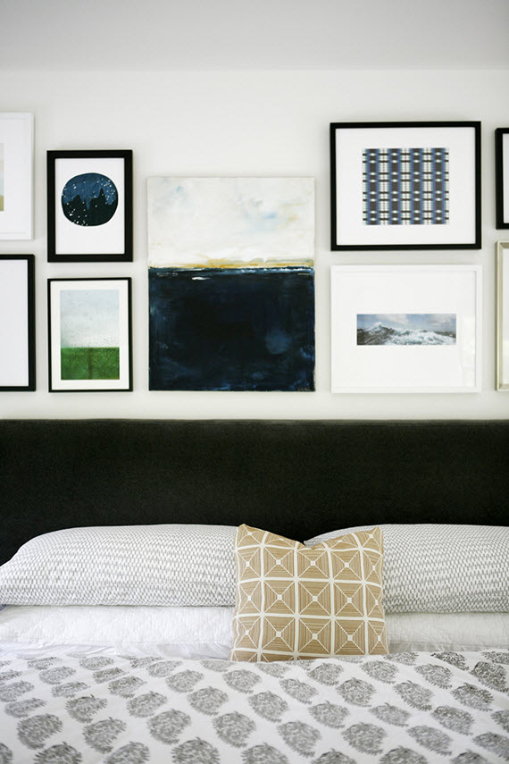 artwork above bed // bedroom // H2 Design + Build