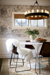 modern elements dining area // nuvolette wallpaper by cole & sons