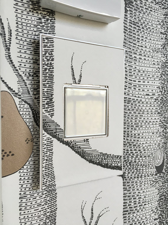 adorne light switch with wallpaper // @simplifiedbee #oneroomchallenge