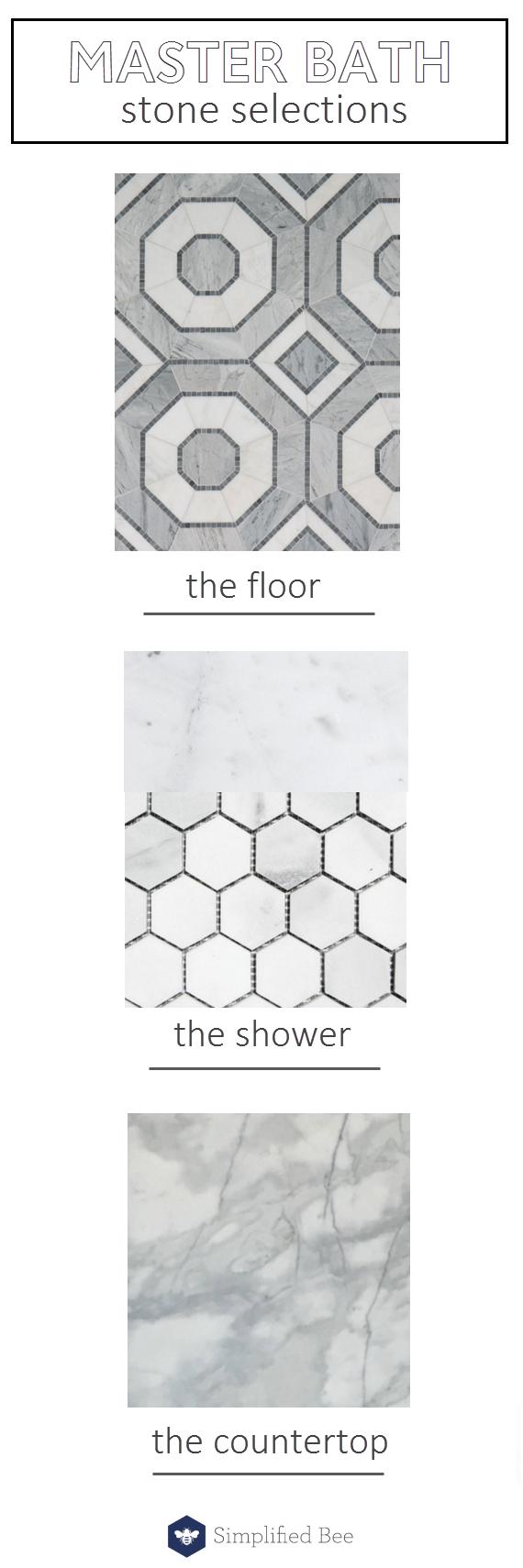 stone selections // master bath // @simplifiedbee #oneroomchallenge