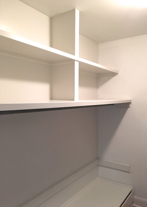 walk-in closet shelving // farrow & ball strong white // @simplifiedbee