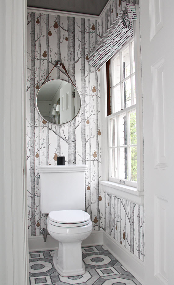 bathroom // woods wallpaper // caroline cecil textiles // @simplifiedbee