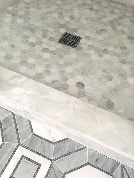 Marble hex tiled bathroom walls transitional bathroom 301 moved permanently hexagon mosaic Marble hex tile bathroom floor