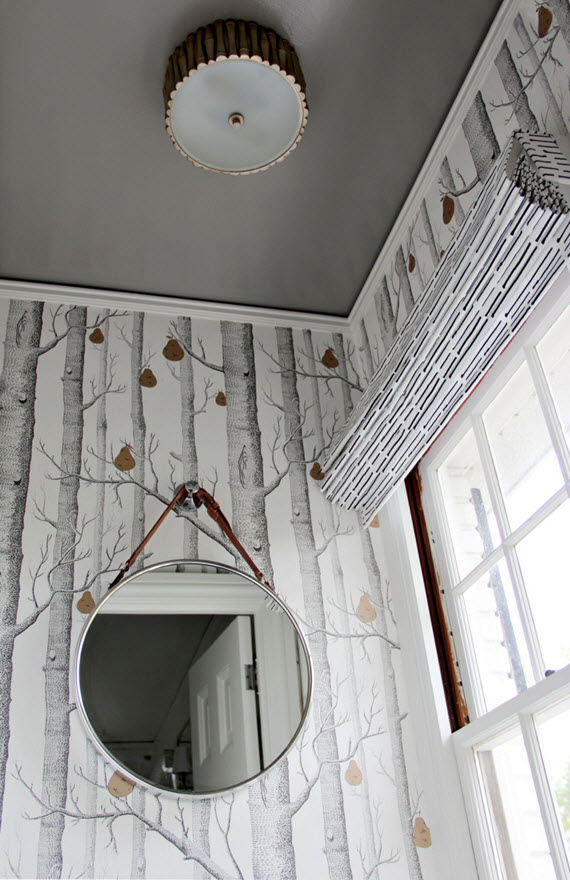 bathroom // wallpaper, roman shade & mirror // @simplifiedbee