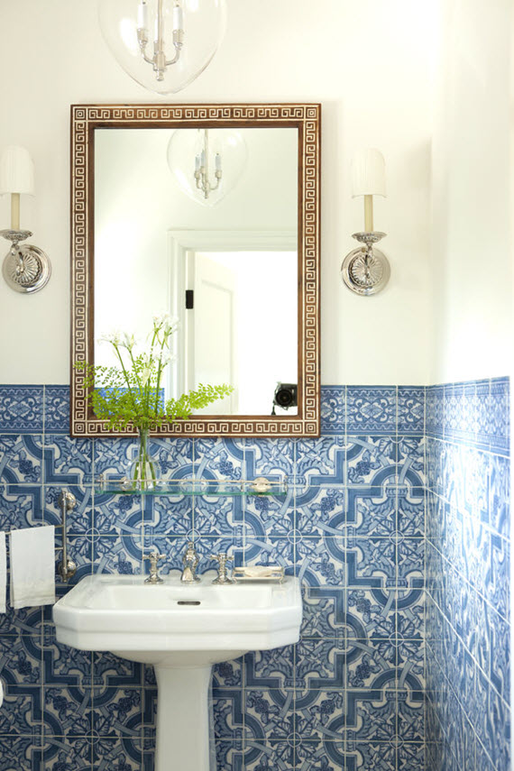 blue bathroom tile // mark d sikes interior design