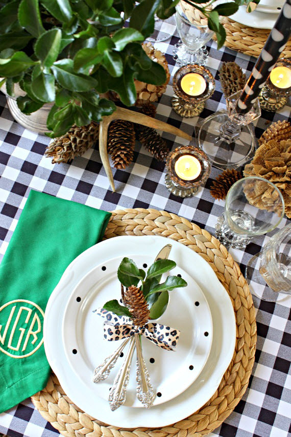 black + white gingham // thanksgiving table