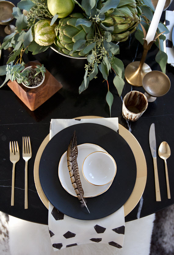 black & white thanksgiving table