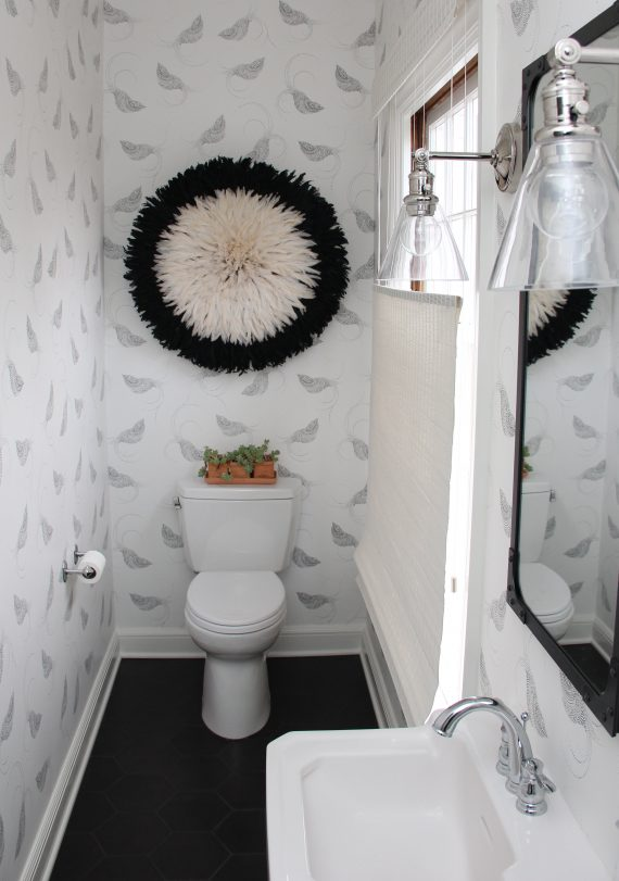 black & white bird wallpaper w juju hat // bathroom // @simplifiedbee