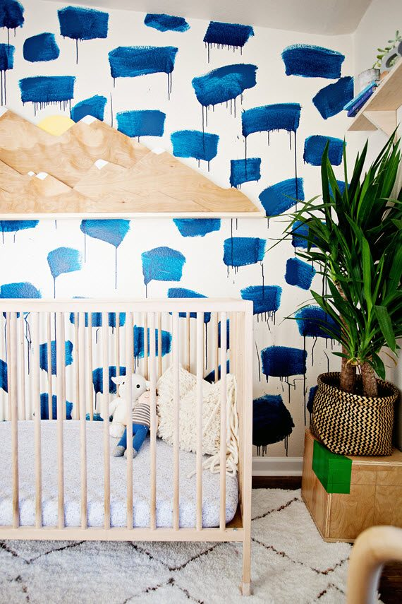 modern nursery // painterly wallpaper