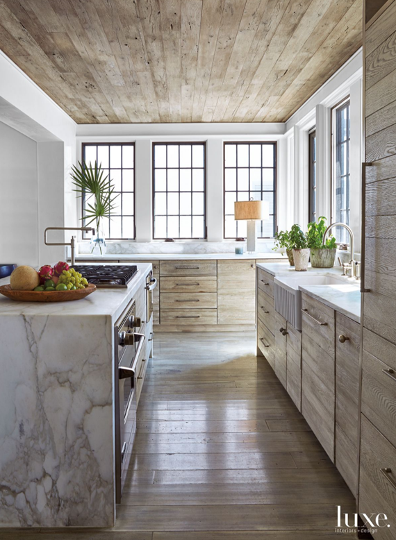 marble waterfall countertop // kitchen island
