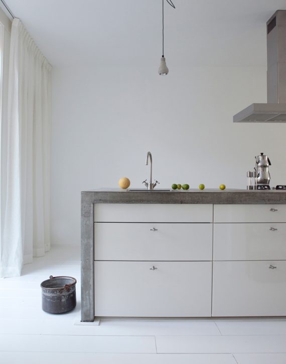 concrete waterfall countertops // kitchen