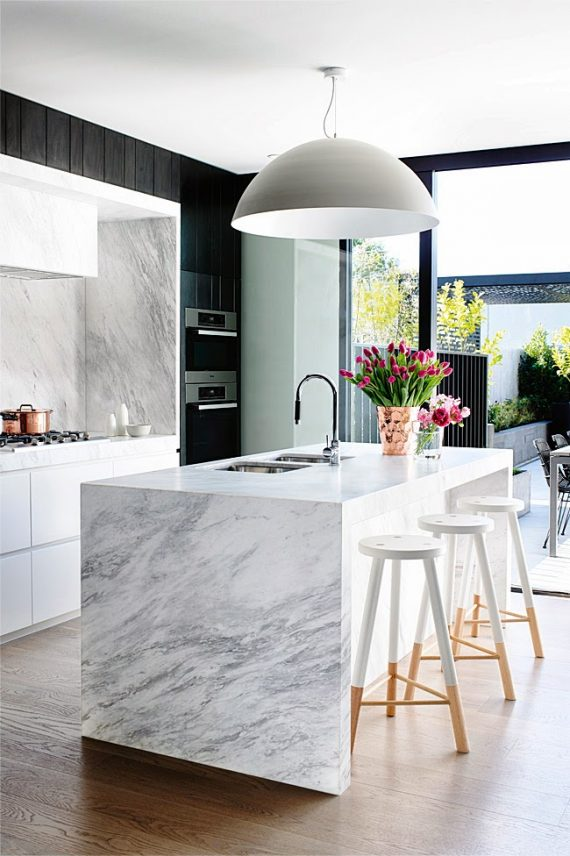 marble waterfall countertops // kitchen island