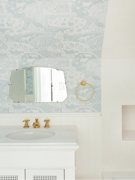 kids bathroom with wallpaper // Emily Henderson