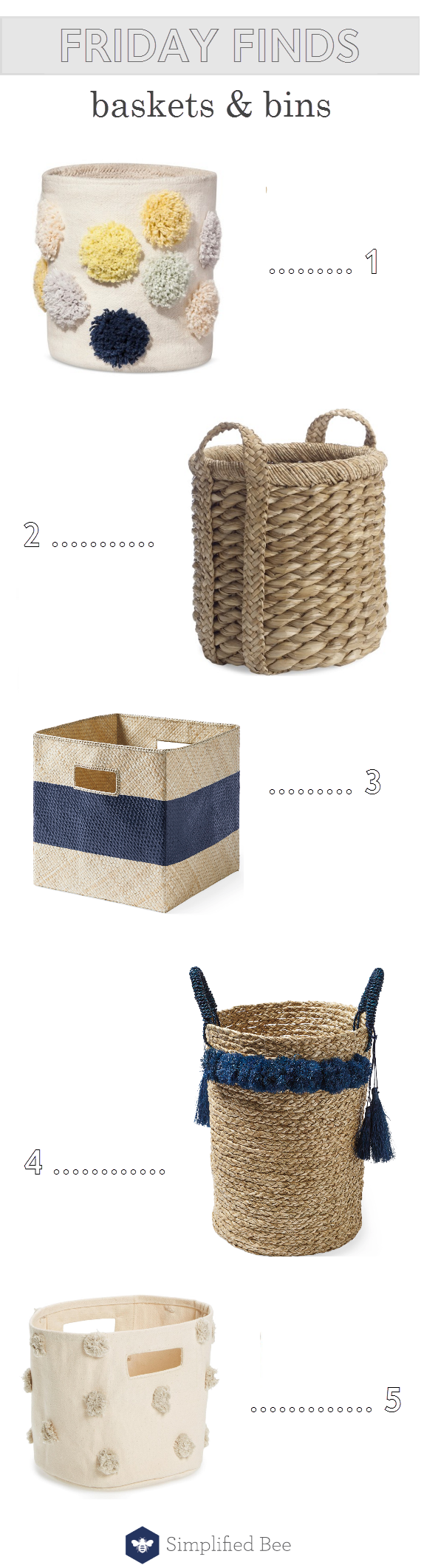 decorative baskets and bins // storage solutions // @simplifiedbee #storage
