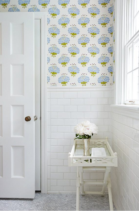 traditional girls bathroom with wallpaper