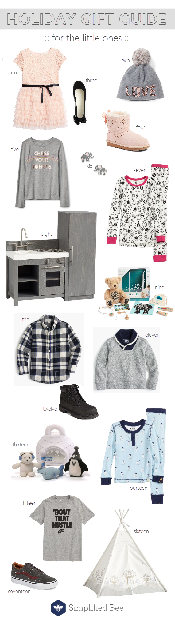 holiday gift guide for kids // @simplifiedbee #kidsgifts #giftguide #kids #holidaygifts #christmas