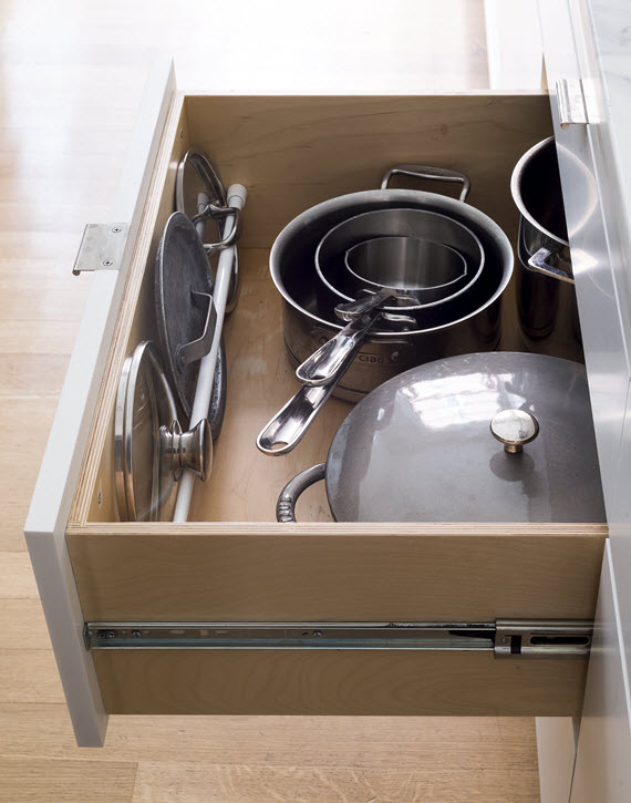 organized pot lid drawer // Remodelista: The Organized Home // @simplifiedbee