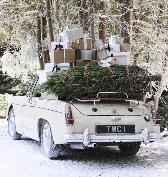 vintage car + christmas tree #christmas #snow