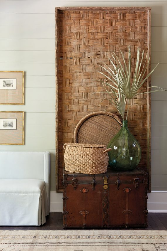 large decorative basket as wall art // @simplifiedbee