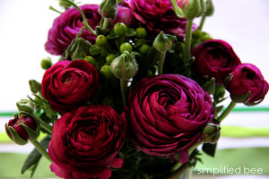 Ranunculus and green Hypericum berry flowers