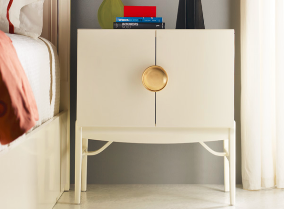 Modern White And Gold Bedside Table