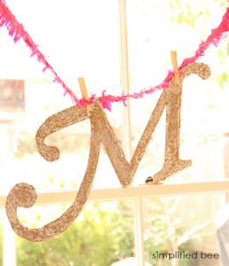 glitter+letter+initial+garland