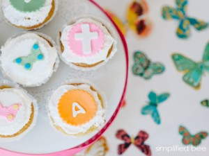 butterfly, initial andcross cupcake toppers