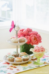 butterfly table runner and pink peonies - fiesta ideas