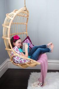 rattan hanging chair - girls bedroom