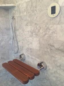 carrara marble tile shower // Mr. Steam // Simplified Bee