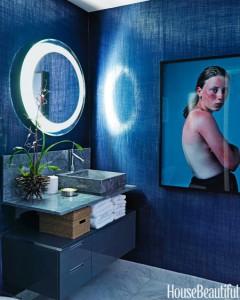 bathroom with Elitis Paradisio Cristal fabric walls // Robert Passal