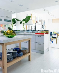 kitchen with marble top lostrine prep table // Robert Passal