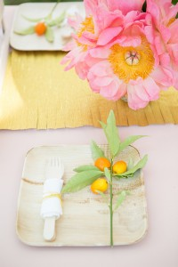 pink peony, citrus and gold metallic table runner #party