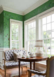 green chinoiserie wallpaper // de gournay // simplified bee