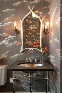 bathroom with koi fish wallpaper // de gournay // simplified bee