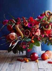 pink and orange Thanksgiving floral arrangement #holiday