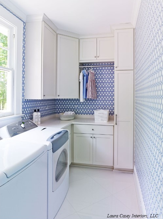 Laundry Room With Hicks Hex Wallpaper