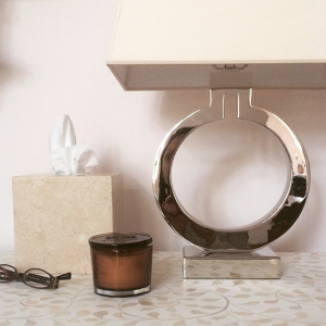 inlay side table & chrome lamp // Cristin Bisbee Priest Designs // Simplified Bee