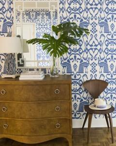 blue & white wallpaper // entry // JK Kling Associates