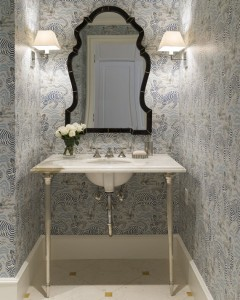 powder room with chic wallpaper // JK Kling