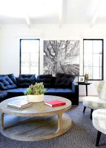 navy tufted sofa // family room // maggie pierson design