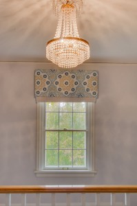 vintage chandelier + window valance // staircase landing // @simplifiedbee
